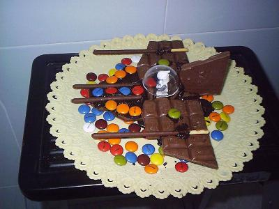 NAVE DE LEGO EN CHOCOLATE